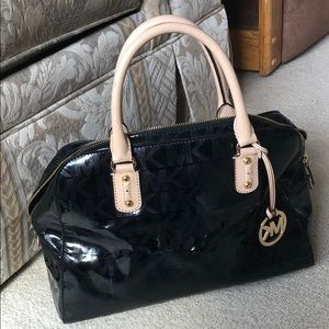 Michael Kors black shiny monogram satchel bag